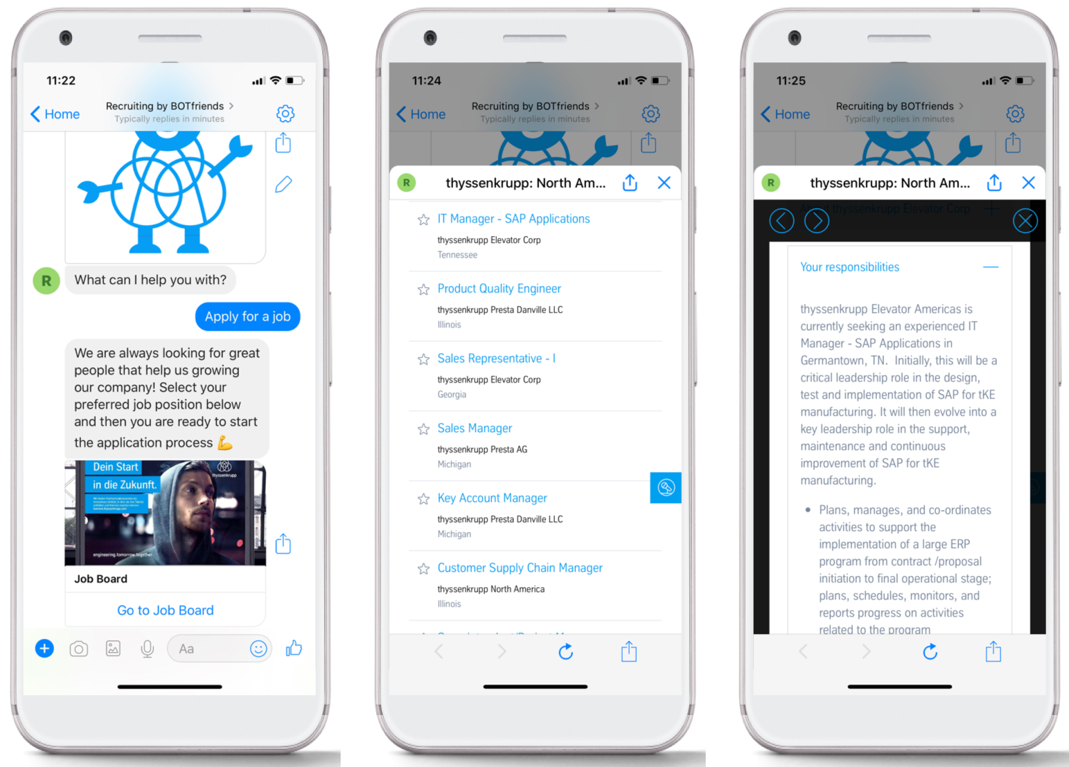 Applying for a job with a chatbot within Facebook Messenger