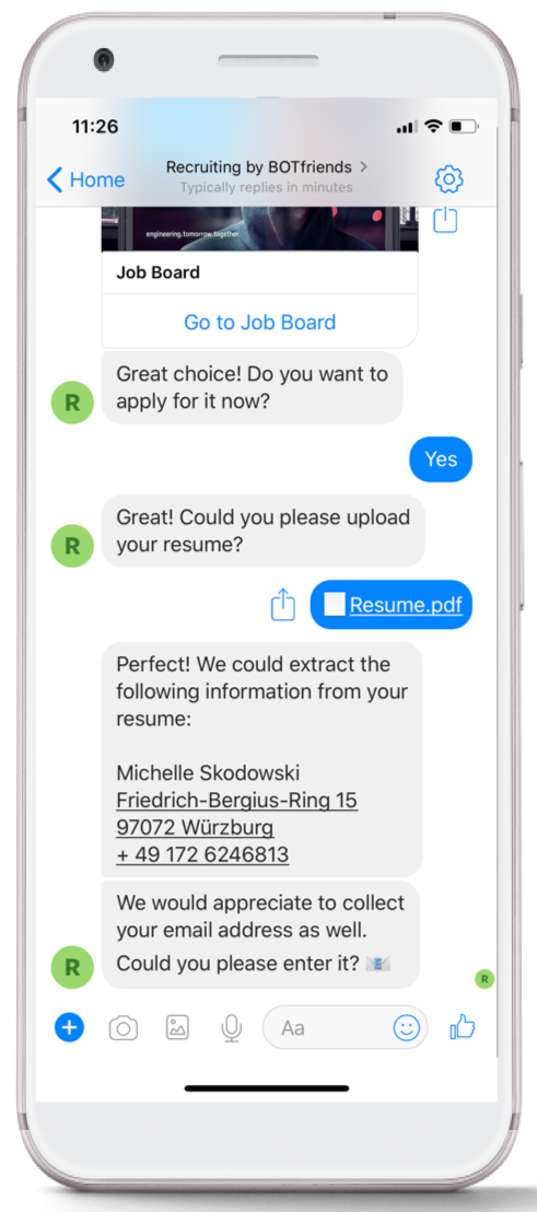 A chatbot collecting information from a candidate