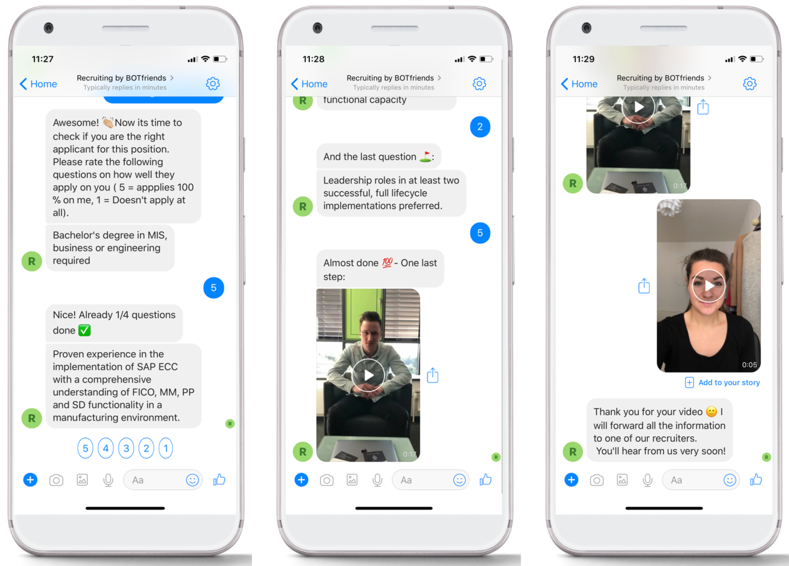 A chatbot asking screening questions and ranking the applicant