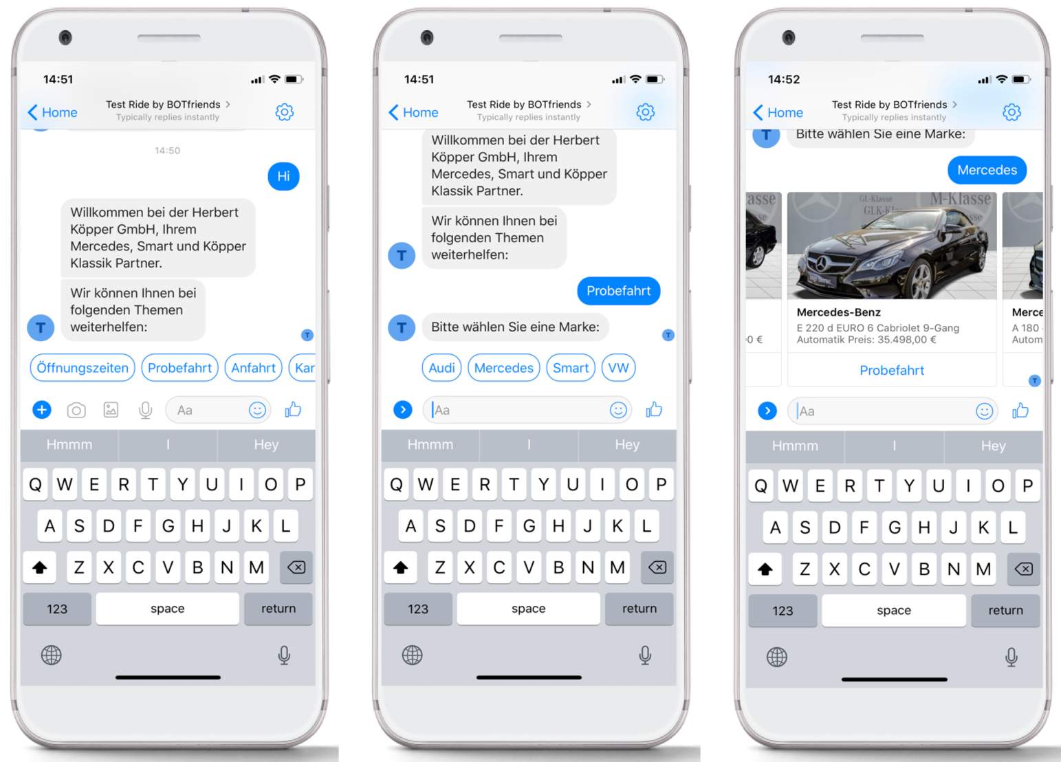 Selecting a car via chatbot on Facebook Messenger