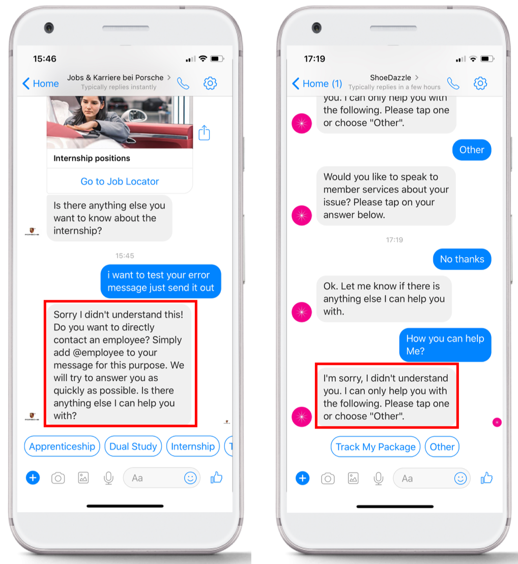Examples of good chatbot error messages