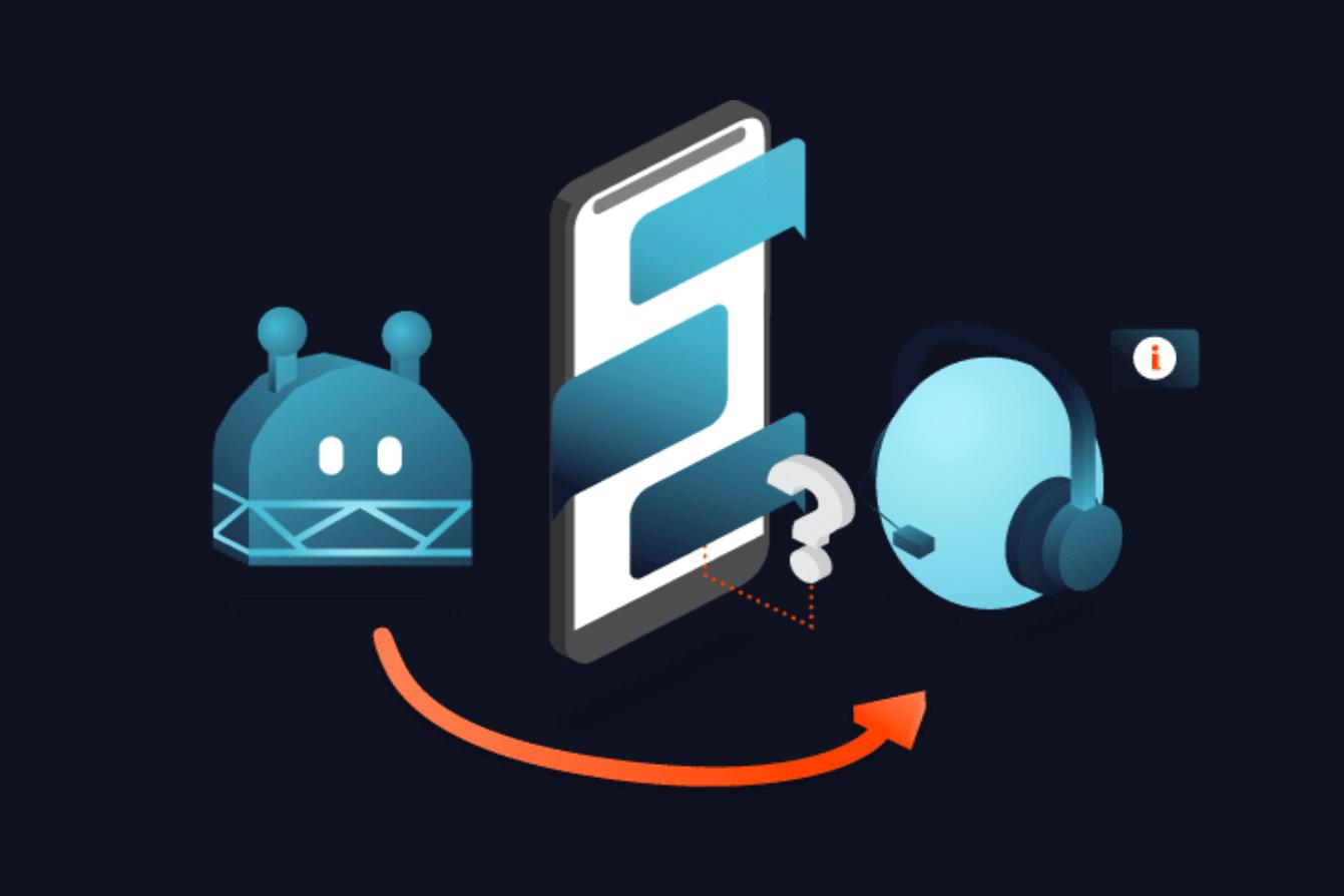 Ein Chatbot leitet eine Konversation an einen Mitarbeiter weiter