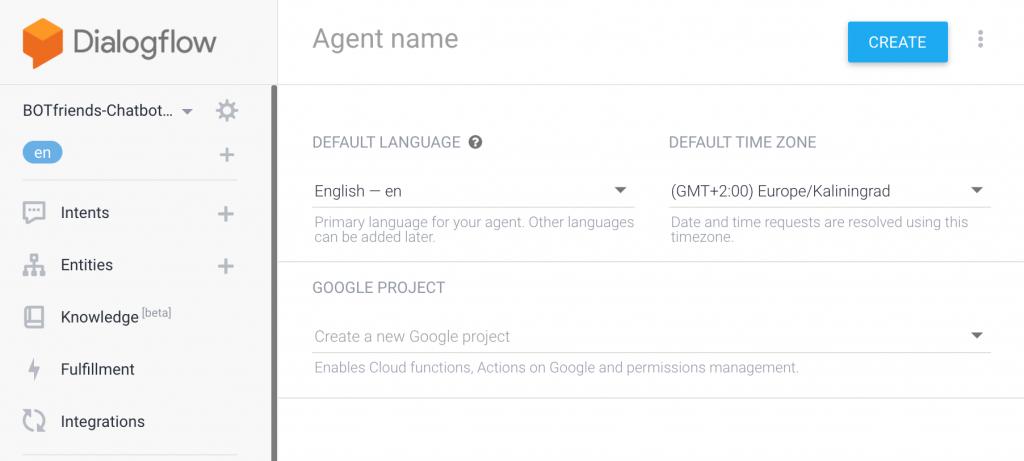 Beispiel wie Agents in Dialogflow erstellt werden