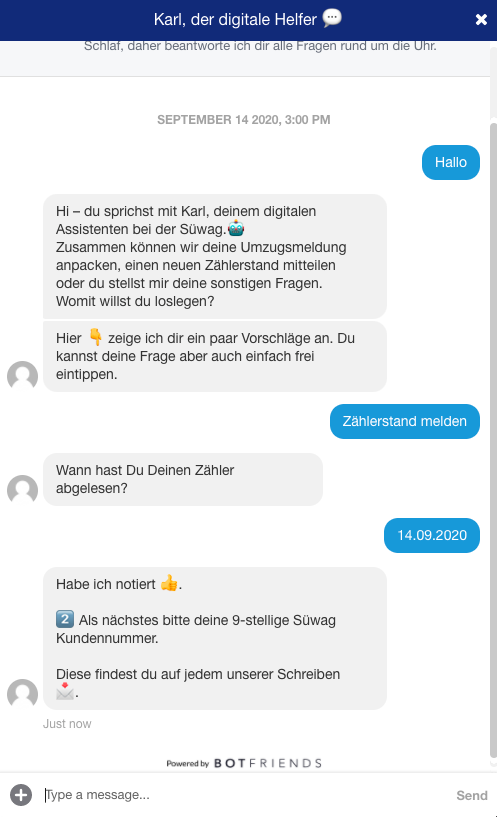 Chatverlauf Datum Zählerstandsablese