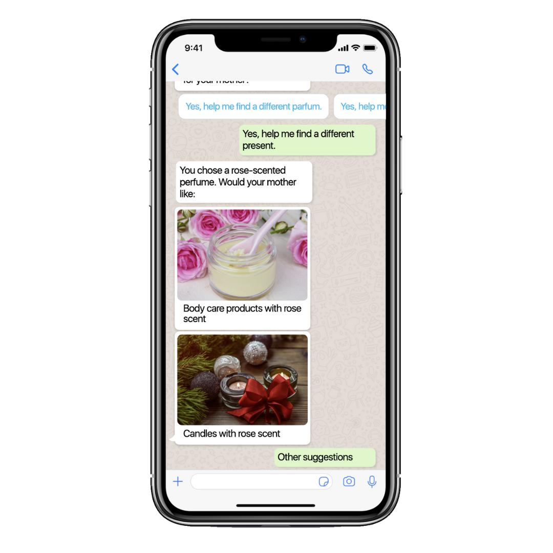 Ein Chatbot hilft den Kunden Geschenkalternativen zu finden.