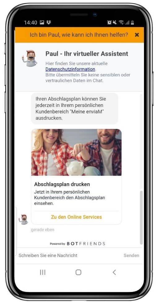 Chatbots unterstützen Stromkunden.