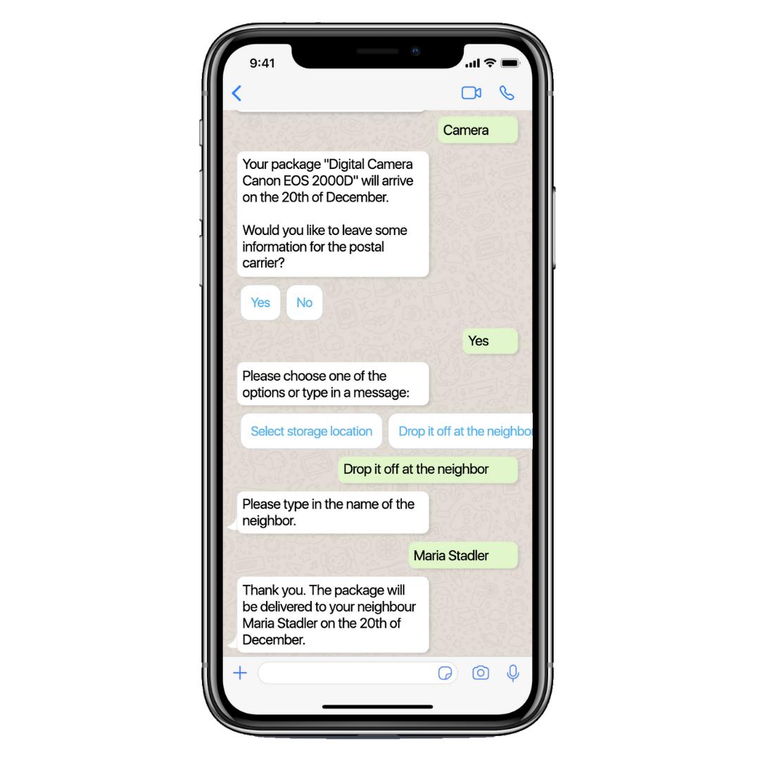 Der Chatbot teilt dem Paketzulieferer Informationen zum Ablageort mit