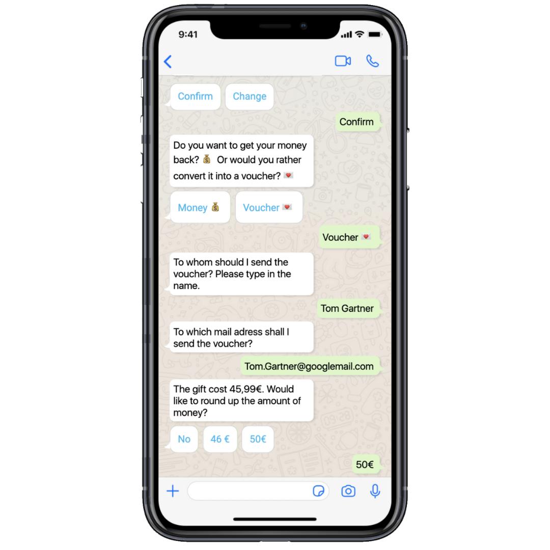 Der Chatbot stellt dem Kunden einen Gutschein aus.