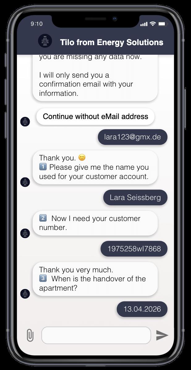 Der Chatbot bittet den nutzer um den Namen, Kundennummer, Zählernummer und Zählerstand