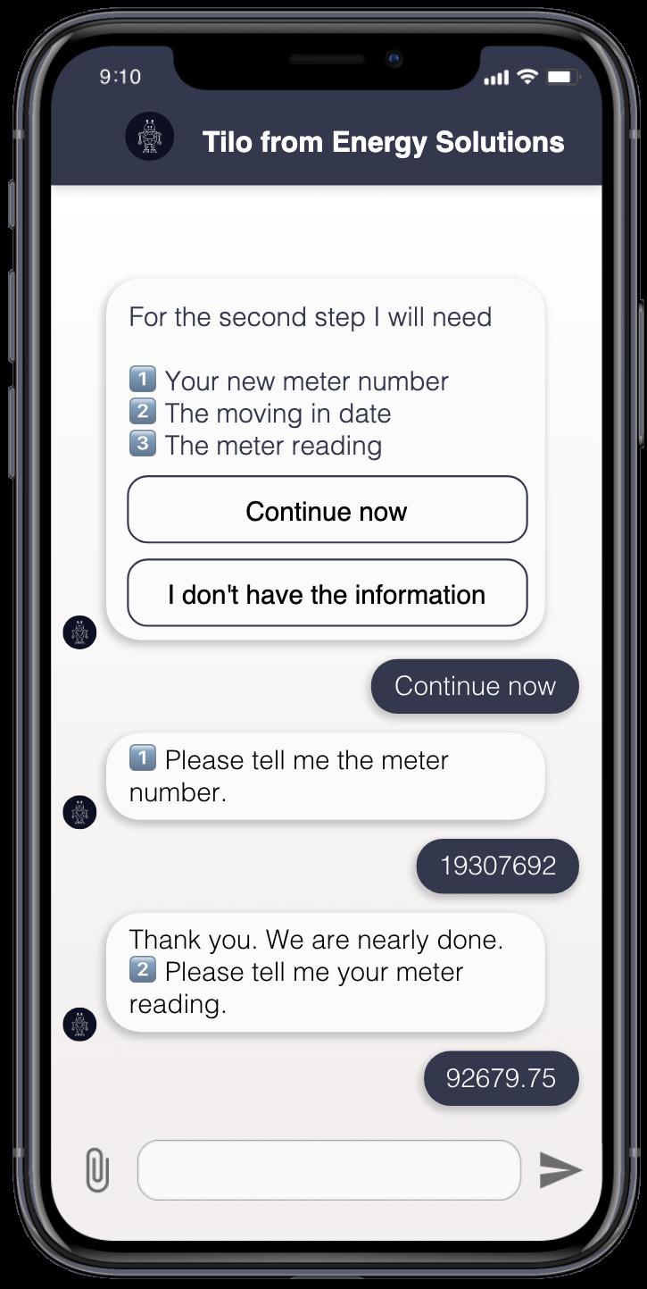 Der Chatbot bittet den Nutzer sich für eine Zahlungsmethode zu entscheiden.
