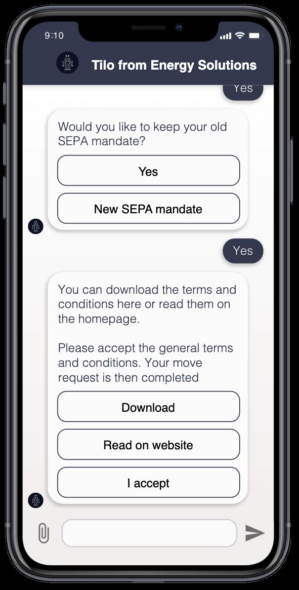 Der Nutzer kann über den Chatbot die Nutzungsbedingungen akzeptieren.