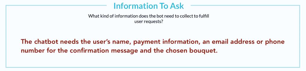 In diesem Feld trägst du ein welche Informationen der Chatbot von deinen Nutzern erfragen muss.