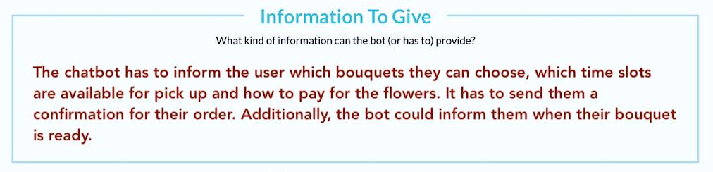 In diesem Feld trägst du ein, welche Informationen der Bot deinen Nutzern geben muss.