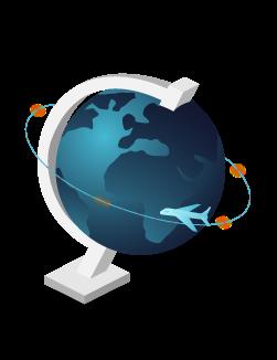 Ein Flugzeug fliegt um einen Globus