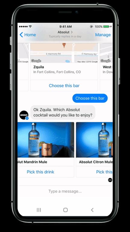 Der Chatbot schlägt dem Nutzer einen Drink vor