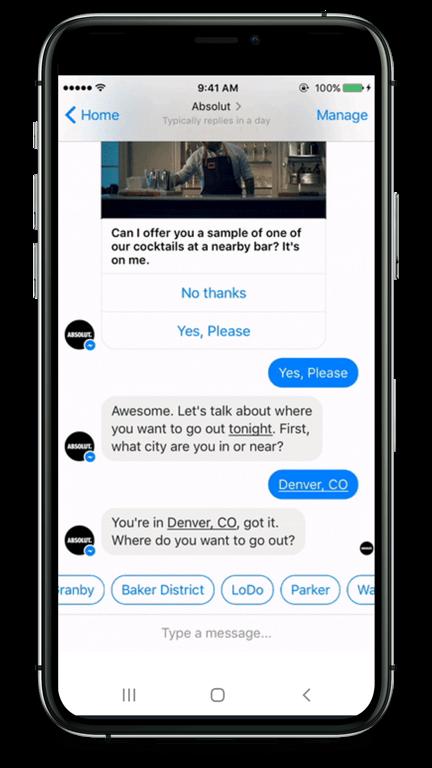 Der Chatbot schlägt den Nutzern eine Bar vor