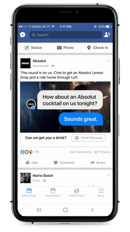 Facebook Anzeige mit Chatbot